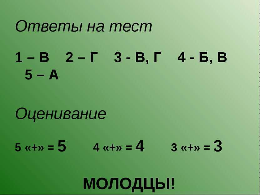 Ответы на тест 1 – В 2 – Г 3 - В, Г 4 - Б, В 5 – А Оценивание 5 «+» = 5 4 «+»...