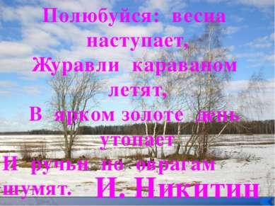 Полюбуйся: весна наступает, Журавли караваном летят, В ярком золоте день утоп...