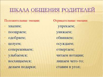 Положительные эмоции: хвалим; поощряем; одобряем; целуем; сопереживаем; улыба...