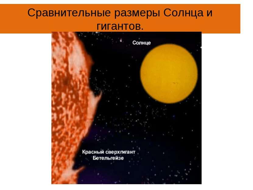 Сравнительные размеры Солнца и гигантов.