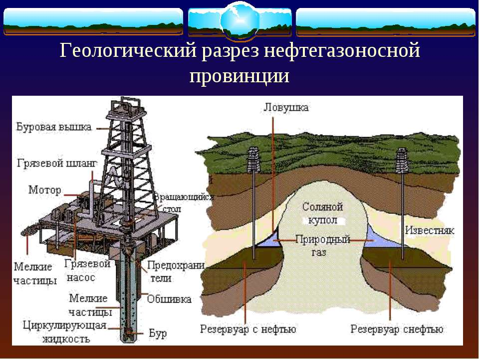 Геологический разрез нефтегазоносной провинции