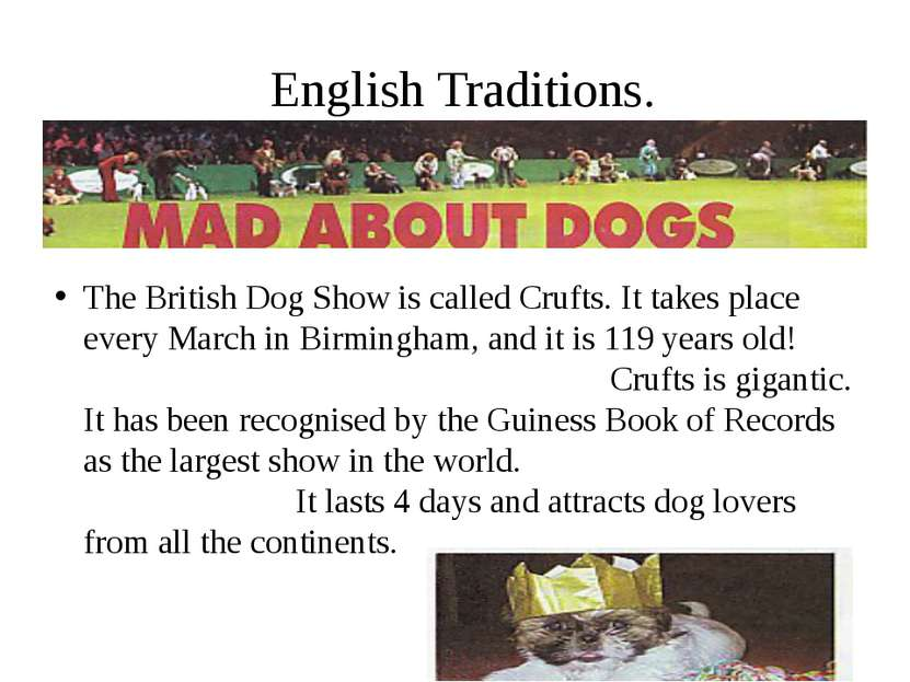 English Traditions. The British Dog Show is called Crufts. It takes place eve...