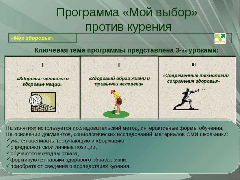 Программа «Мой выбор» против курения Ключевая тема программы представлена 3-м...