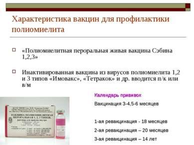 Характеристика вакцин для профилактики полиомиелита «Полиомиелитная пероральн...