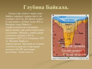 Глубина Байкала. Среди озер земного шара озеро Байкал занимает первое место п...
