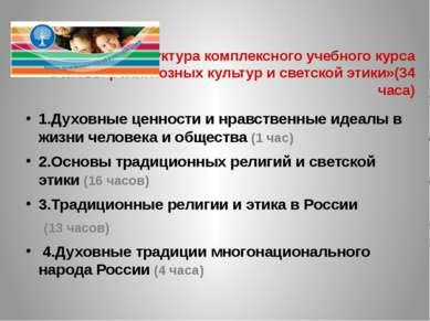 Структура комплексного учебного курса «Основы религиозных культур и светской ...