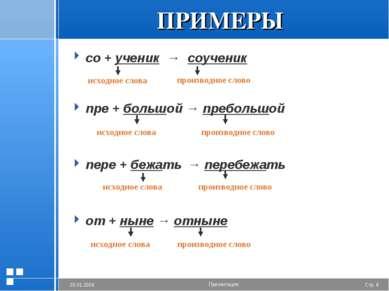 ПРИМЕРЫ со + ученик → соученик пре + большой → пребольшой пере + бежать → пер...