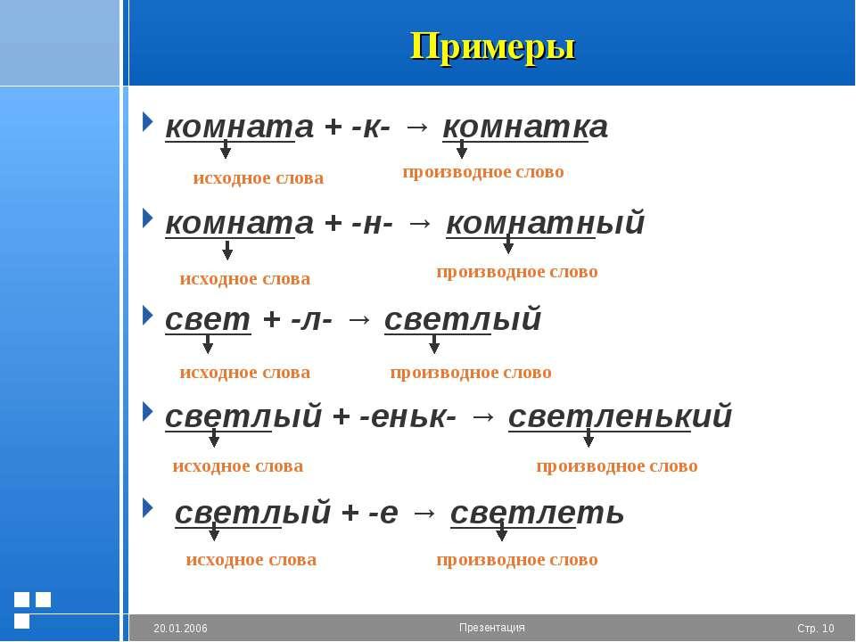 Примеры комната + -к- → комнатка комната + -н- → комнатный свет + -л- → светл...