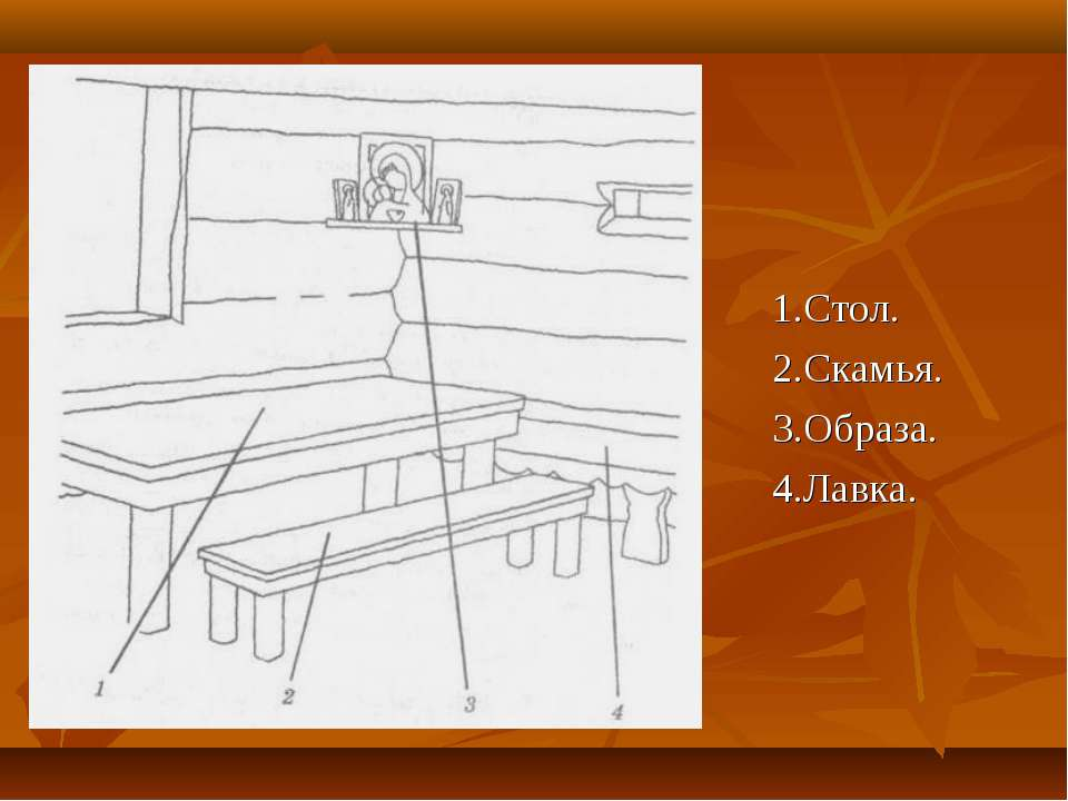 1.Стол. 2.Скамья. 3.Образа. 4.Лавка.
