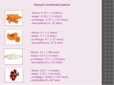 Принцип составления рациона - белки: 0.76 г. (~3 кКал); - жиры: 0.18 г. (~2 к...