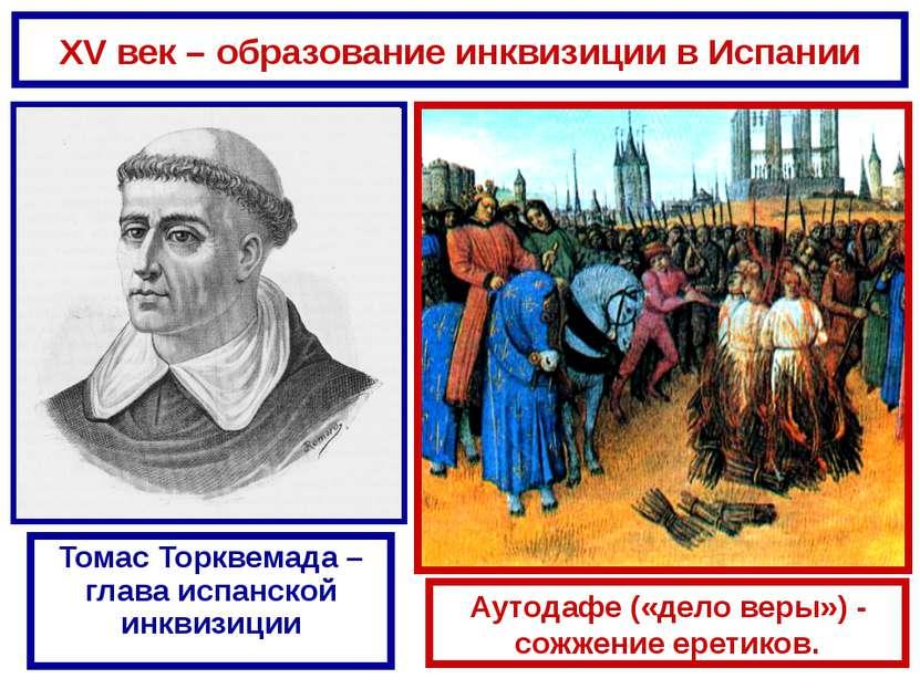 XV век – образование инквизиции в Испании Томас Торквемада – глава испанской ...