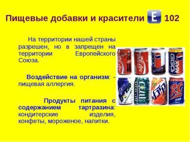 Пищевые добавки и красители 102 На территории нашей страны разрешен, но в зап...