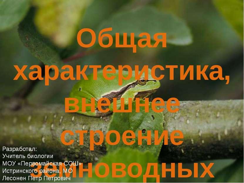 Общая характеристика, внешнее строение земноводных Разработал: Учитель биолог...