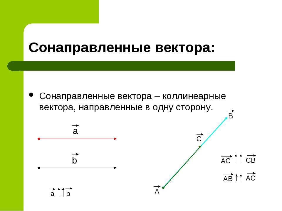 Сонаправленные вектора: Сонаправленные вектора – коллинеарные вектора, направ...