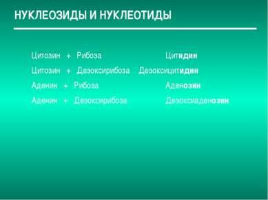 НУКЛЕОЗИДЫ И НУКЛЕОТИДЫ Цитозин + Рибоза Цитидин Цитозин + Дезоксирибоза Дезо...