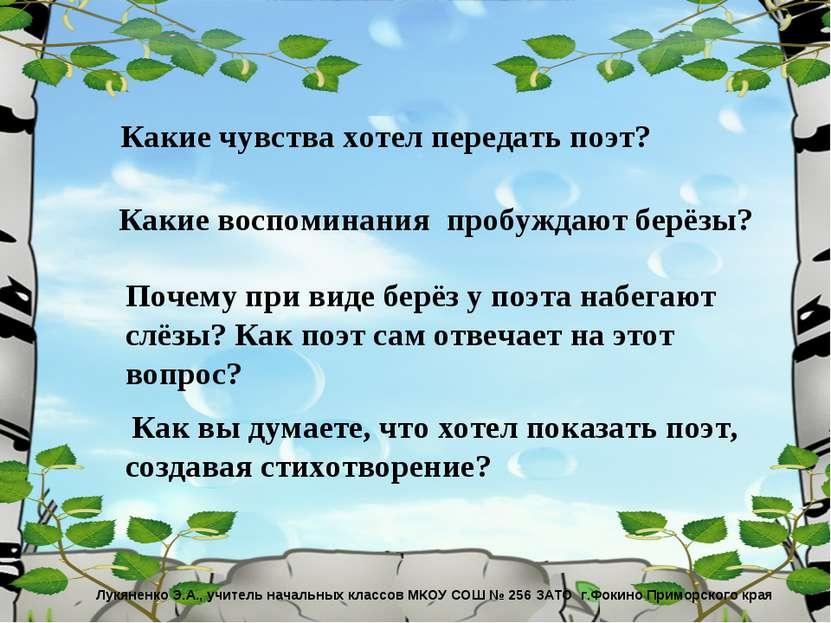 Лукяненко Э.А., учитель начальных классов МКОУ СОШ № 256 ЗАТО г.Фокино Примор...