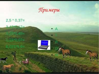 Примеры 2,5 * 0,37= 3,43*0,12= 0,25*0,48= 1,15*0,07= 6,023*5,6= А Т Л О Н