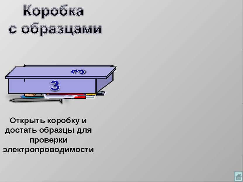 Открыть коробку и достать образцы для проверки электропроводимости