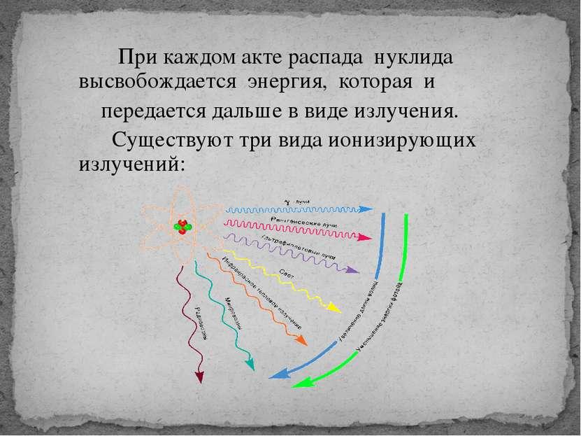 При каждом акте распада нуклида высвобождается энергия, которая и передается ...