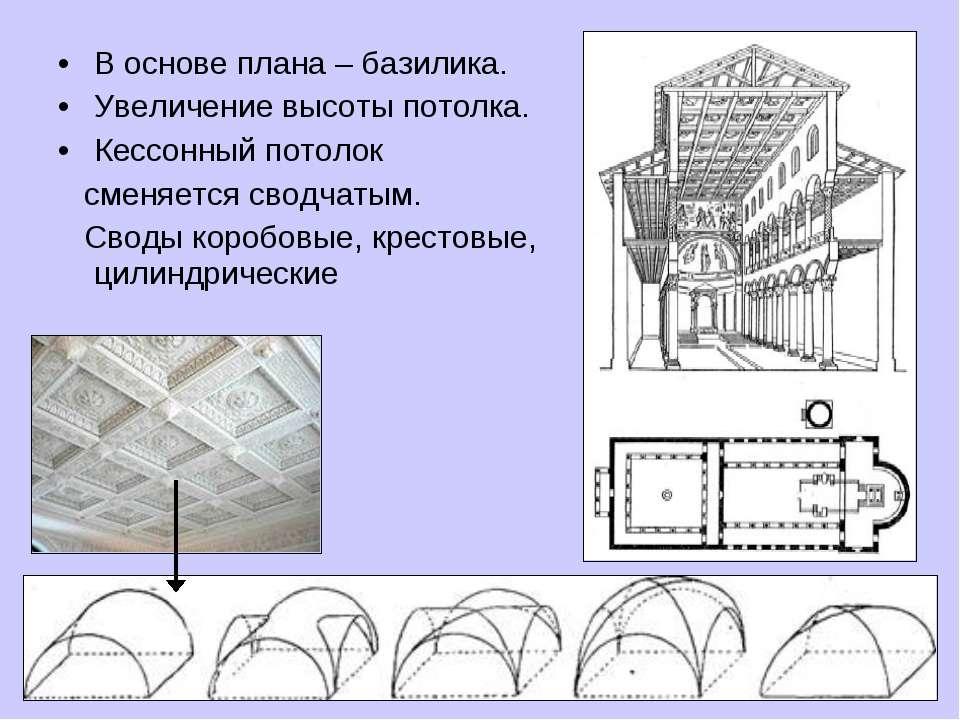 В основе плана – базилика. Увеличение высоты потолка. Кессонный потолок сменя...
