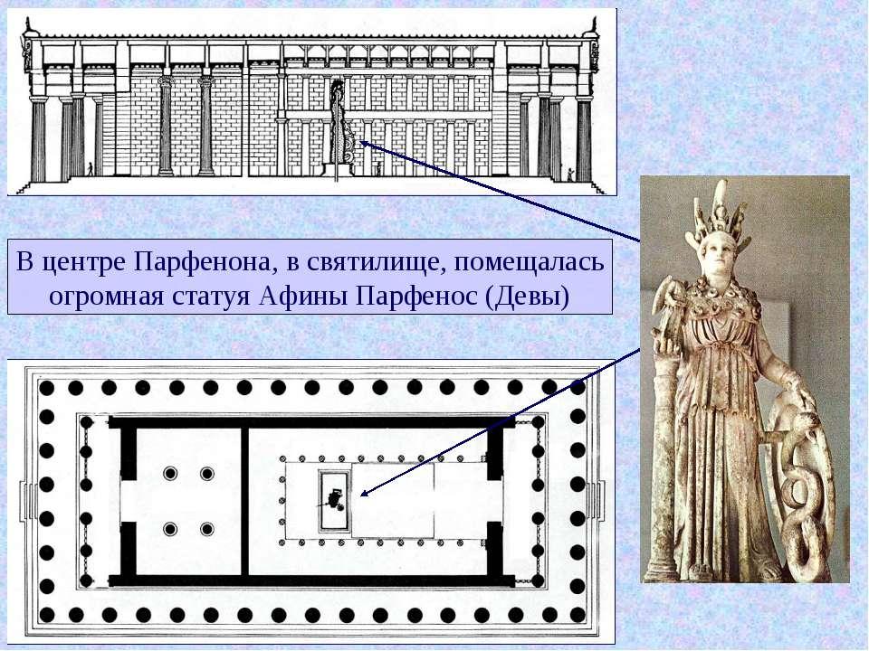 В центре Парфенона, в святилище, помещалась огромная статуя Афины Парфенос (Д...
