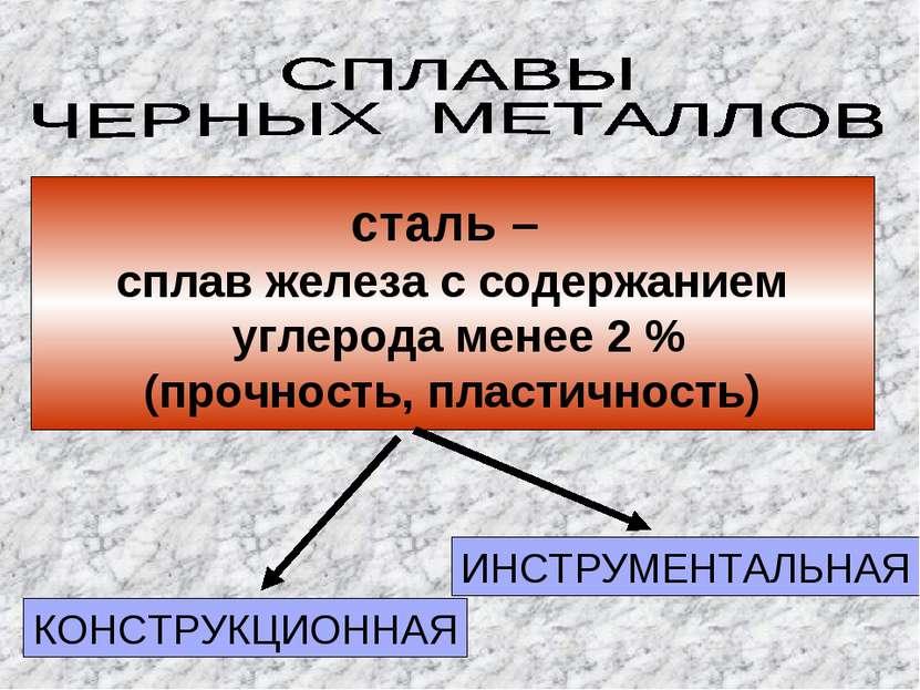 сталь – сплав железа с содержанием углерода менее 2 % (прочность, пластичност...