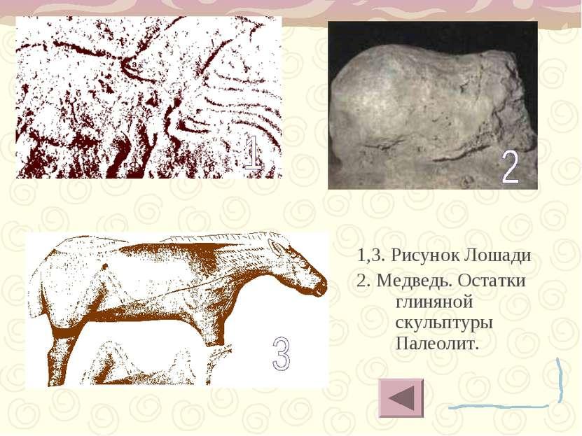 1,3. Рисунок Лошади 2. Медведь. Остатки глиняной скульптуры Палеолит.