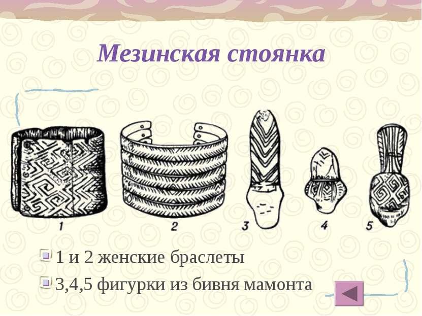 Мезинская стоянка 1 и 2 женские браслеты 3,4,5 фигурки из бивня мамонта