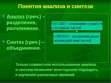 Понятия анализа и синтеза Анализ (греч.) – разделение, расчленение. Синтез (г...
