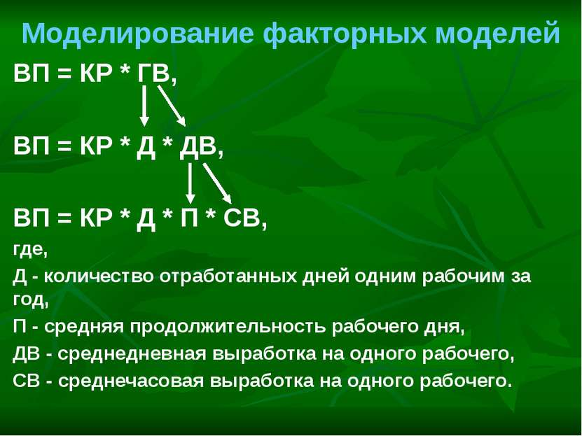 Моделирование факторных моделей ВП = КР * ГВ, ВП = КР * Д * ДВ, ВП = КР * Д *...