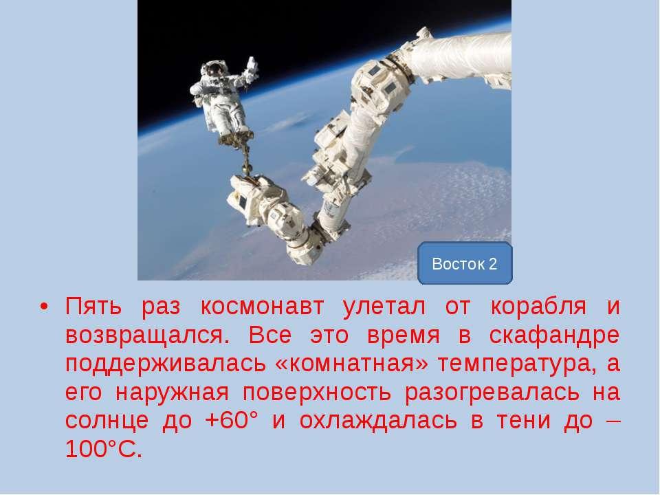 Пять раз космонавт улетал от корабля и возвращался. Все это время в скафандре...