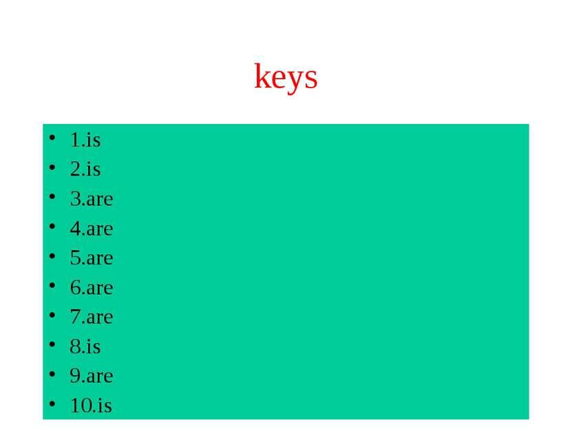 keys 1.is 2.is 3.are 4.are 5.are 6.are 7.are 8.is 9.are 10.is