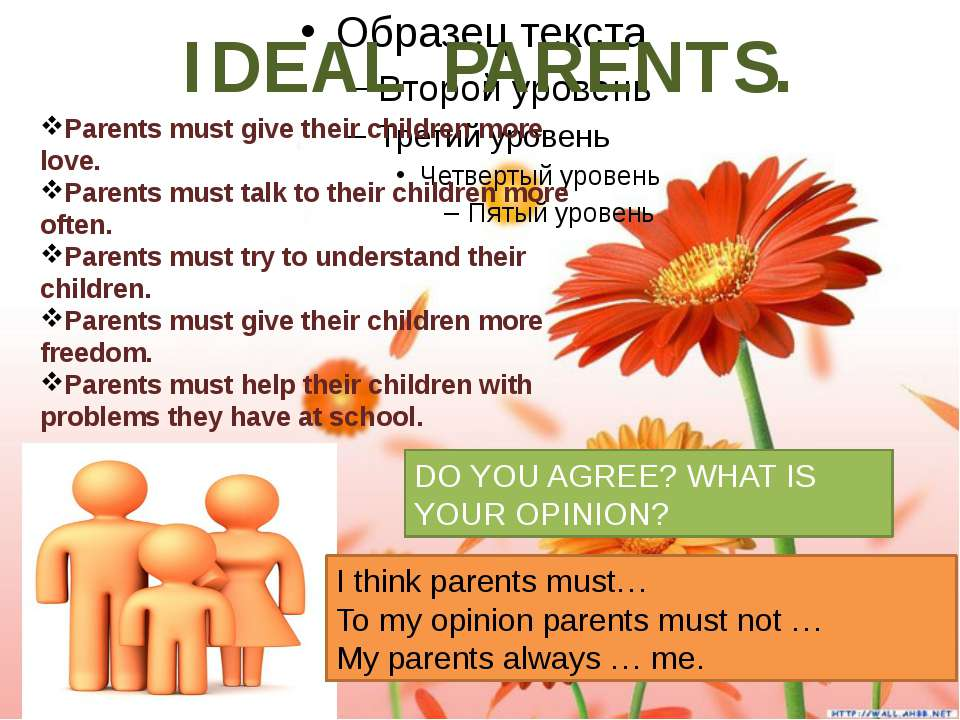 IDEAL PARENTS. Parents must give their children more love. Parents must talk ...
