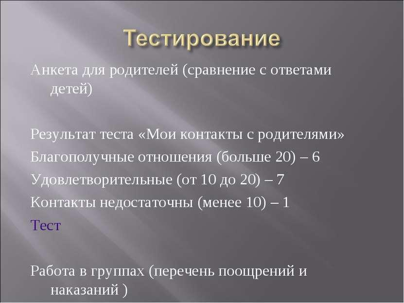 Анкета для родителей (сравнение с ответами детей) Результат теста «Мои контак...