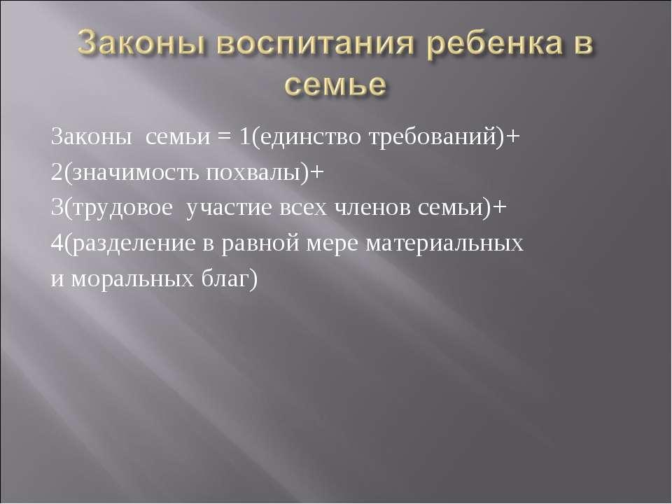 Законы семьи = 1(единство требований)+ 2(значимость похвалы)+ 3(трудовое учас...