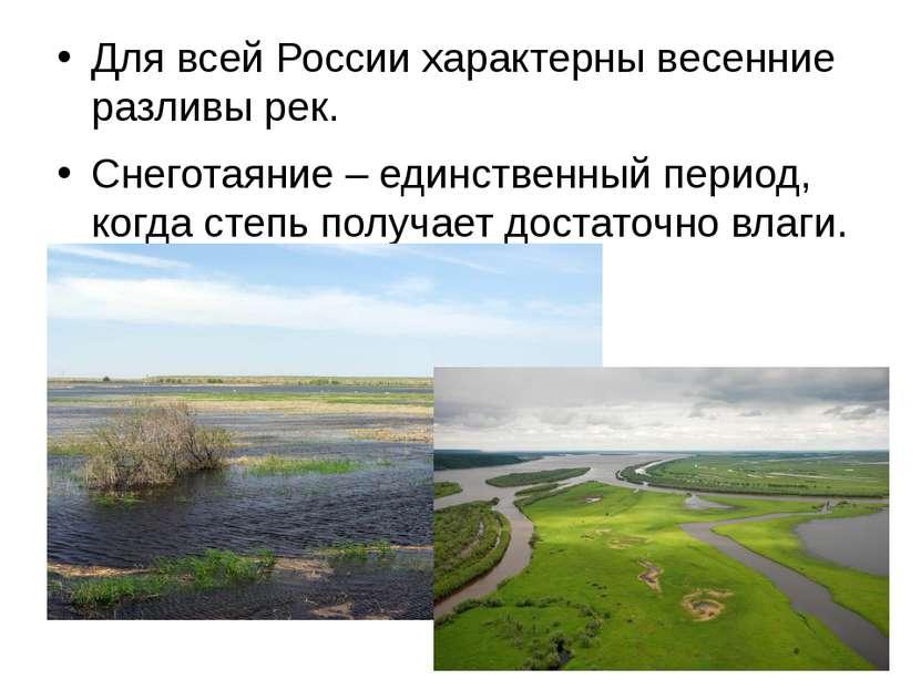 Для всей России характерны весенние разливы рек. Снеготаяние – единственный п...