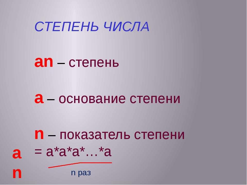 СТЕПЕНЬ ЧИСЛА an – cтепень a – основание степени n – показатель степени = а*а...