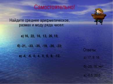 Найдите среднее арифметическое, размах и моду ряда чисел: а) 16, 22, 16, 13, ...