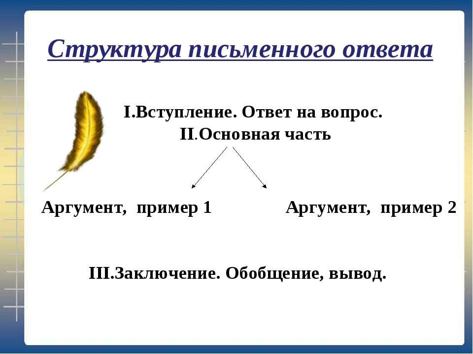 I.Вступление. Ответ на вопрос. II.Основная часть Аргумент, пример 1 Аргумент,...