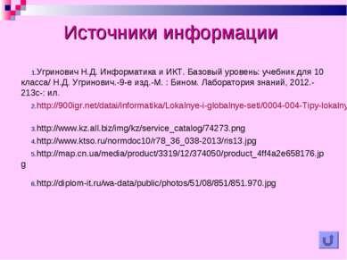 Источники информации Угринович Н.Д. Информатика и ИКТ. Базовый уровень: учебн...