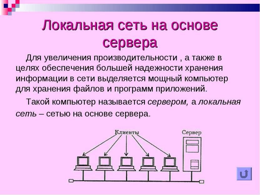 Локальная сеть на основе сервера Для увеличения производительности , а также ...