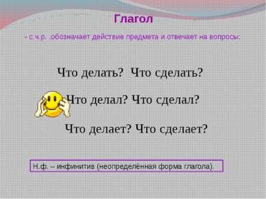 Глагол 2). М.П.: вид, наклонение, время, лицо, число, род, спряжение и др. 1)...