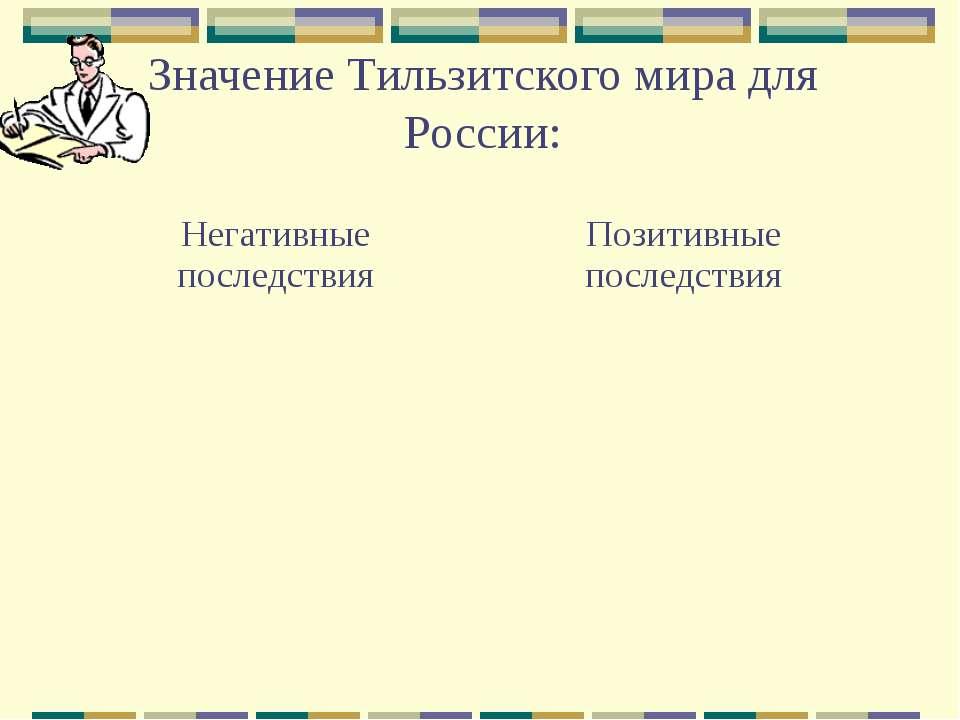 Значение Тильзитского мира для России: Негативные последствия Позитивные посл...