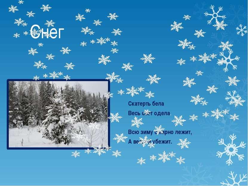 Снег Скатерть бела Весь свет одела. Всю зиму смирно лежит, А весной убежит.