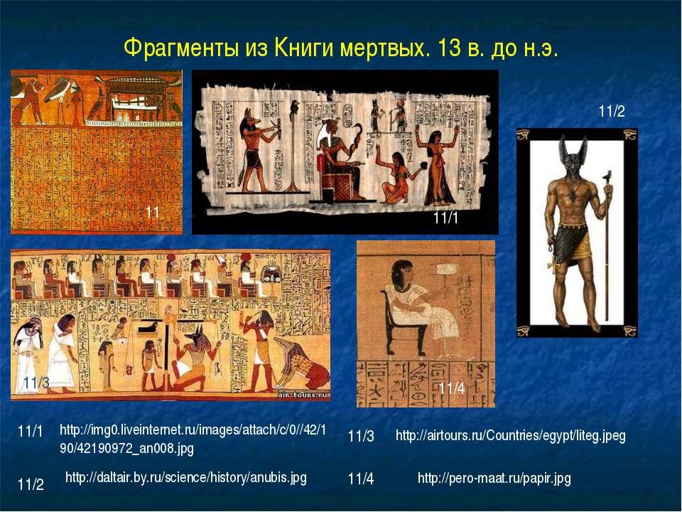 Фрагменты из Книги мертвых. 13 в. до н.э. 11 11/1 11/3 11/4 11/2 11/1 11/2 11...
