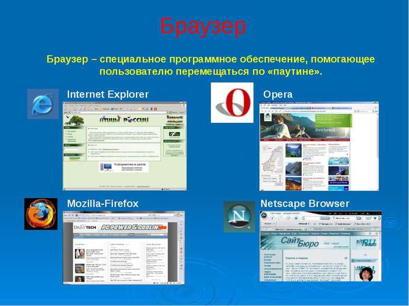 Браузер Internet Explorer Opera Mozilla-Firefox Netscape Browser Браузер – сп...