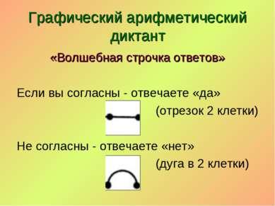 Графический арифметический диктант «Волшебная строчка ответов» Если вы соглас...