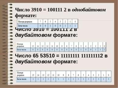 Число 3910 = 100111 2 в однобайтовом формате: Число 3910 = 100111 2 в двубайт...