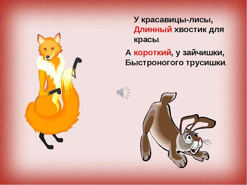 У красавицы-лисы, Длинный хвостик для красы. А короткий, у зайчишки, Быстроно...
