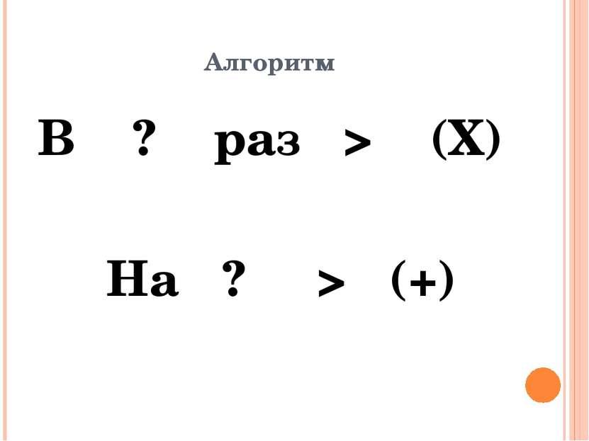 Алгоритм В ? раз > (Х) На ? > (+)